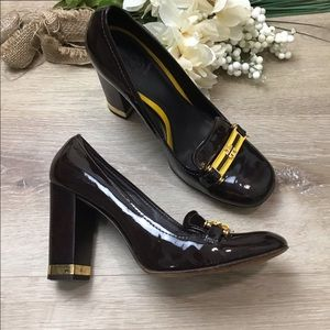 """Tory Burch """"Hamilton"""" Patent Leather Loafer Heels"""